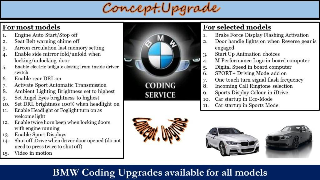 BMW PROGRAMMING CODING FOR HIDDEN FEATURES ACTIVATION