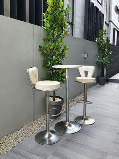 High Chairs & Table White Stainless Steel