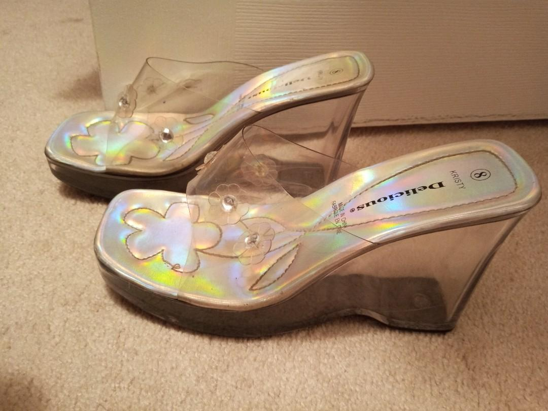 Holographic clear silver wedge heels