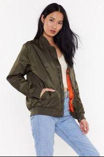 Oversized Khaki bomber jacket