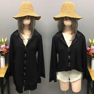 Plus size black long blouse (size:2x-3x)