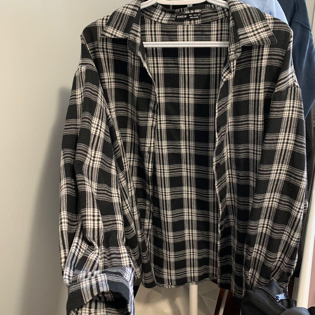 Shein black and white flannel