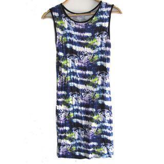 Topshop Blue Tie Dye Stretched Dress