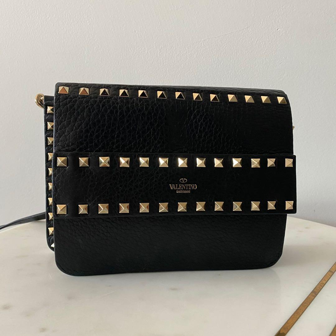 Valentino Black Small Rockstud Grained Leather Shoulder Bag