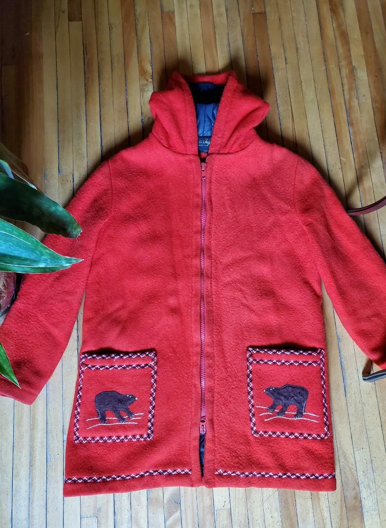 Vintage 1970's James Bay Inuit/Arctic 100% Virgin Wool Coat Made in Canada