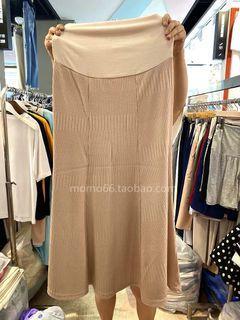 [孕婦裝]針織傘襬長裙—奶茶色