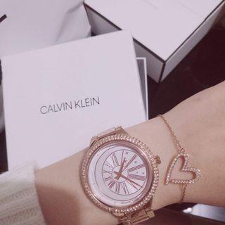 🌹全新小CK Joyous鑲鑽愛心手鏈 玫瑰金 Calvin Klein 絕版手鏈 附盒 附防塵袋 附小本子 情人節禮物 生日禮物 交換禮物