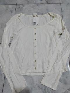 H&M ribbed top white new