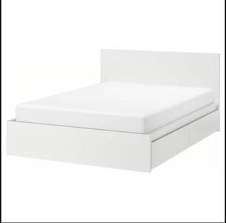 IKEA Queen Malm Bedframe w/ 4 Storage boxes with Queen Mattress & Boxspring