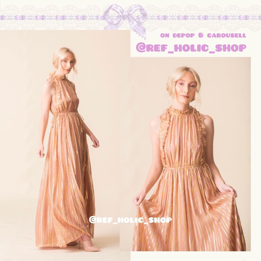 Ulla Johnson Ottilie Metallic Striped Maxi Dress in Rose Gold | Silk-Tinsel