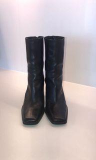 ZARA leather square toe booties