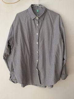 直條紋藍白襯衫外套