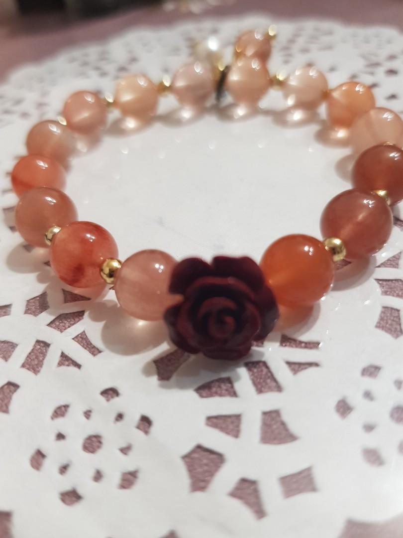 天然硃砂玫瑰鹽緣手珠設計