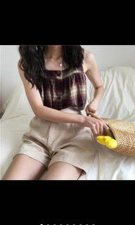 格子棉麻無袖背心