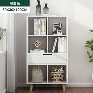 免運~北歐純白書櫃  收納櫃 儲物櫃 書架 簡易書櫥 靠牆置物架 收納儲物層架 多功能展示櫃 免運