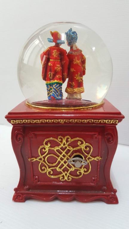 福利品 讚爾藝術 JARLL 鍾愛一生 水晶球音樂盒 愛情婚禮 中式婚禮 水晶球旋轉音樂盒