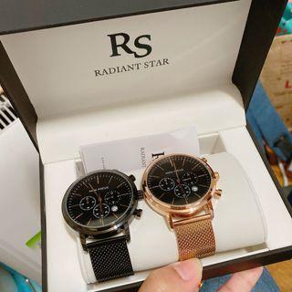 (全新含運)  RADIANT STAR璀璨之星     愛之禮真三眼1+1情侶對錶禮盒二入套組