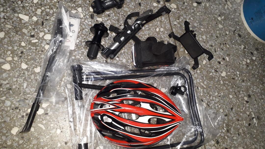 bike accesories👉hub mtb ,stem rb,stan rb,mtb stan rb helmet bicycle pump, cp holder,bag, saddle pad include