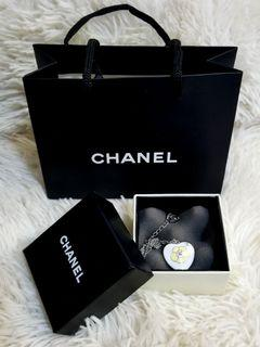 Chanel Camellia Resin Heart Reversible Silver Necklace
