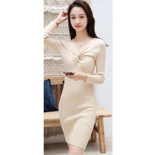 knit dress cream bodyfit