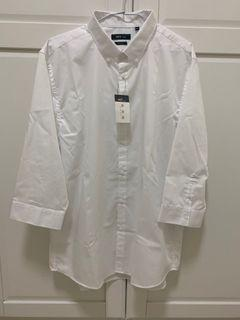 NET 男中長袖襯衫 修身型 SLIM FIT 雪白色#WATER
