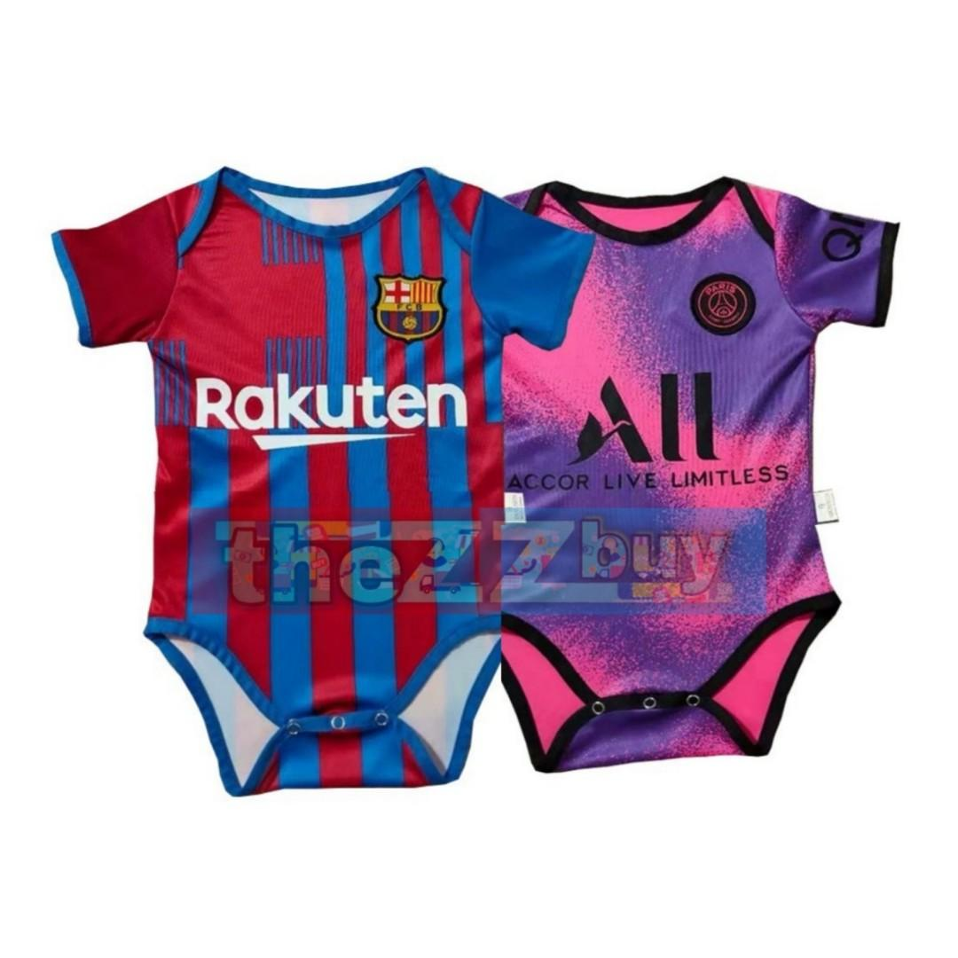 Newborn Cute Baby Rompers Barcelona Psg 21 22 Jersey Infant Football Clothing Kit Women S Fashion Tops Sleeveless On Carousell