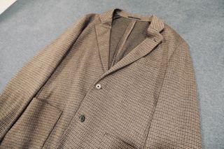 近全新Uniqlo 舒適寬版西裝外套 DARK BROWN 西裝 外套 印花