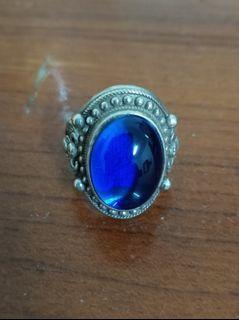 仿古可調式古銀藍色寶石戒指