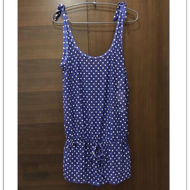 全新專櫃泳裝藍色小波點斑點泳衣外罩背心連身褲