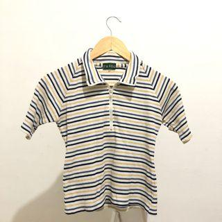 Passo條紋白短版短袖上衣