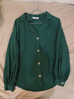 西裝領燈籠袖 深綠襯衫