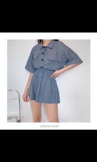 全新 高質感素色套裝🎉 灰藍色😍