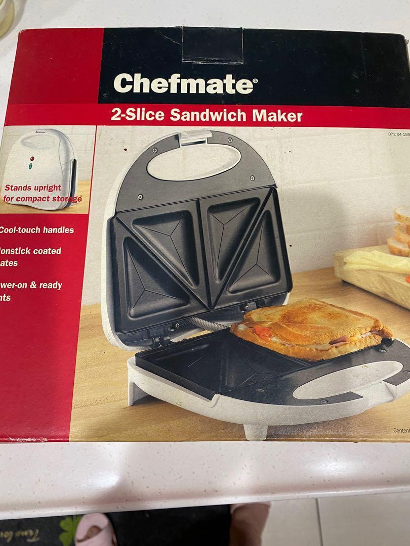 二手 Chefmate 2 Slice Sandwich Maker Grill Nonstick Plates Upright Storage三明治機 點心機 吐司機 熱壓吐司 烤吐司