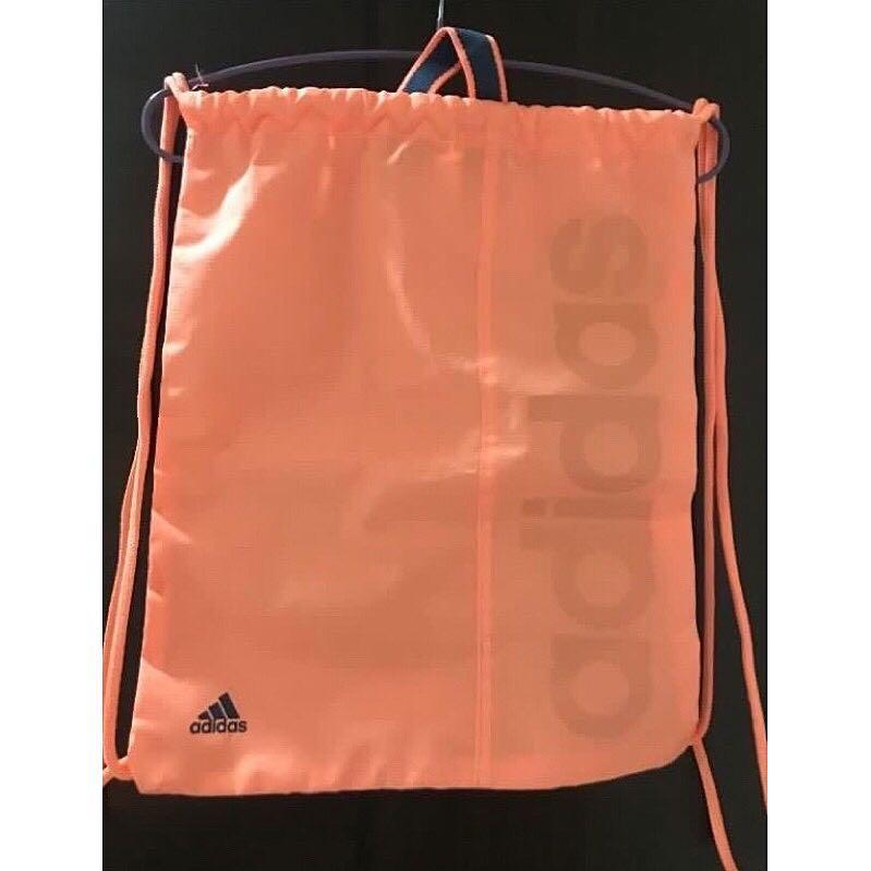 全新 Adidas 螢光橘運動束口袋
