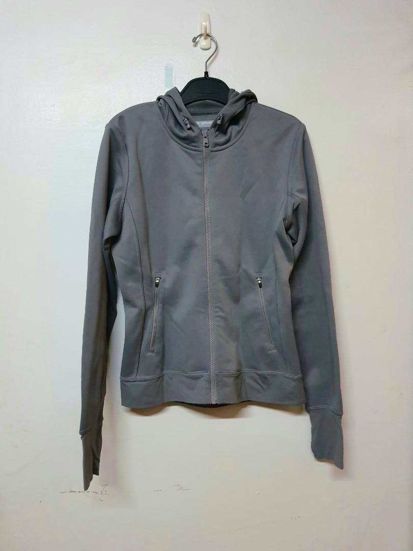 #WATER  (近全新)Lativ DRY-SPORT 吸濕排汗連帽運動外套 灰藍色 尺寸M