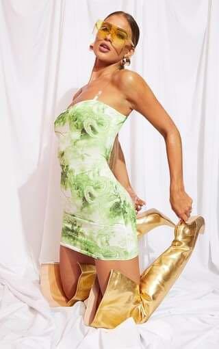 BNWOT PrettyLittleThing Lime Oriental Print Bodycon Dress (S/M)