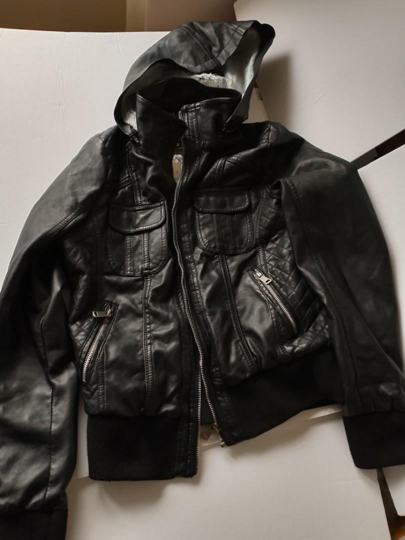 Hooded Leatherette, black jacket, adult size S, YMI collection