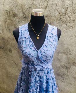Sleeveless Blue Lace Dress