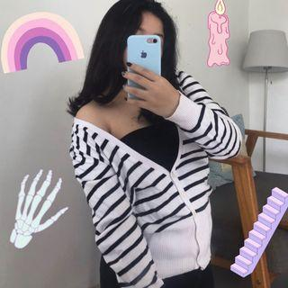 Stripes Knit Cardigan / Kardigan Garis Hitam Putih