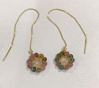 Tourmaline 14k gold wire wrapped earrings