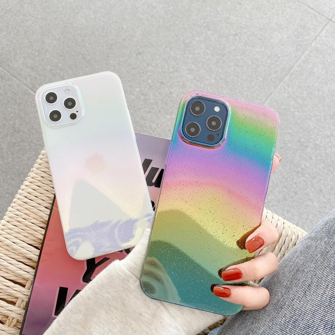 Transparent and Rainbow Holographic Phone Case