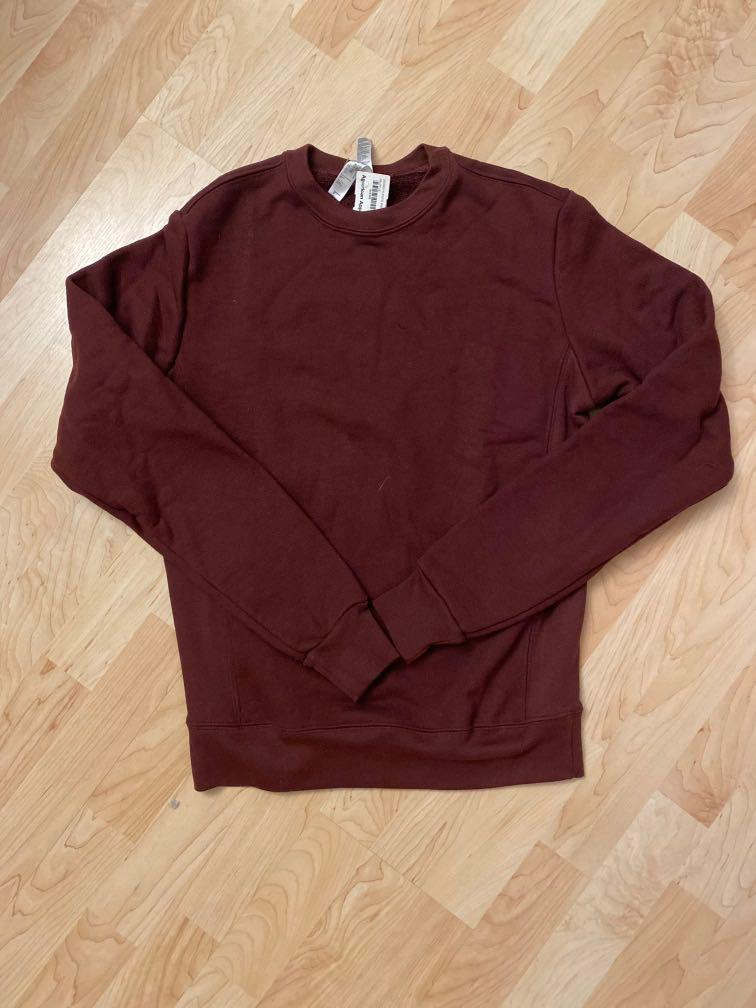 UNISEX SMALL AMERICAN APPAREL BURGUNDY MAROON CREW NECK SWEATER FLEECE MADE IN USA
