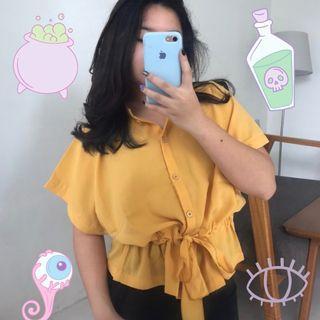 Yellow Shirt / Atasan Kemeja Serut Kuning