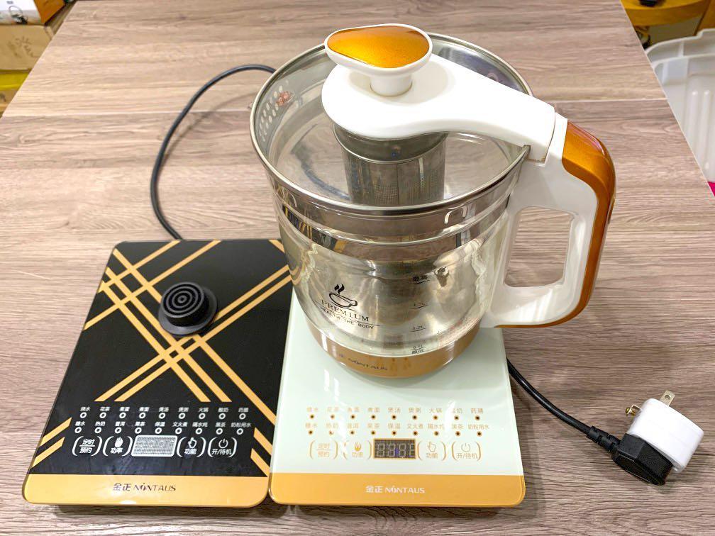 二手出清110V 養生壺全自動加厚玻璃 多功能 電熱燒水壺花茶壺黑茶煮茶兩組加熱底座一個玻璃壺