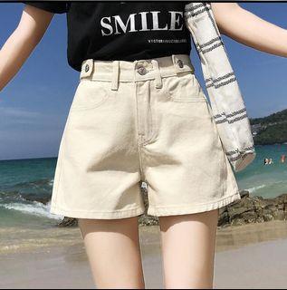 【限時免運】杏色丹寧牛仔寬鬆短褲/蝦皮薄荷家 #WATER  #2021地球日