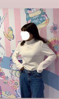 近全新NET全白高領套頭棉打底衫 棉保暖長袖上衣 百搭基本款素色打底貼身長袖上衣 發熱衣 #618