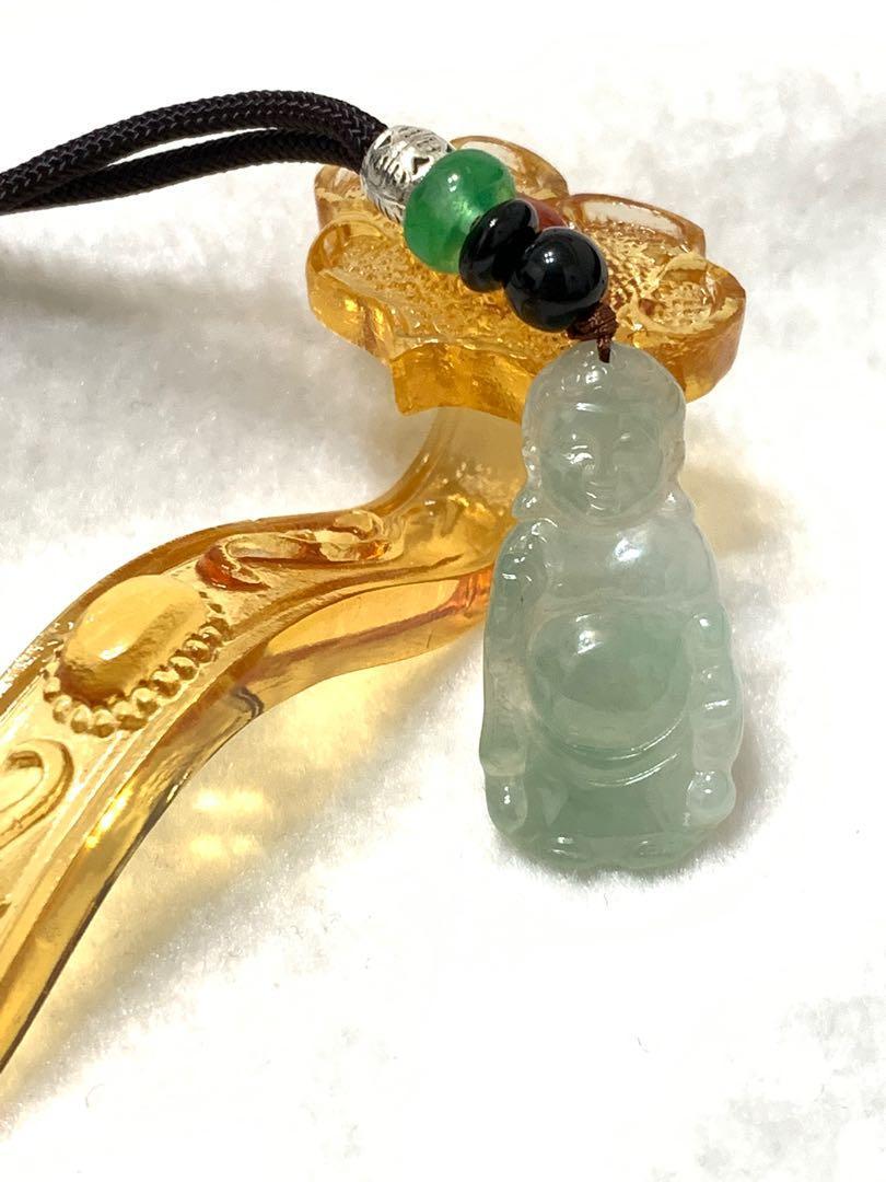 天然緬甸翡翠A貨 - 冰油青如來佛祖吊墜項鍊