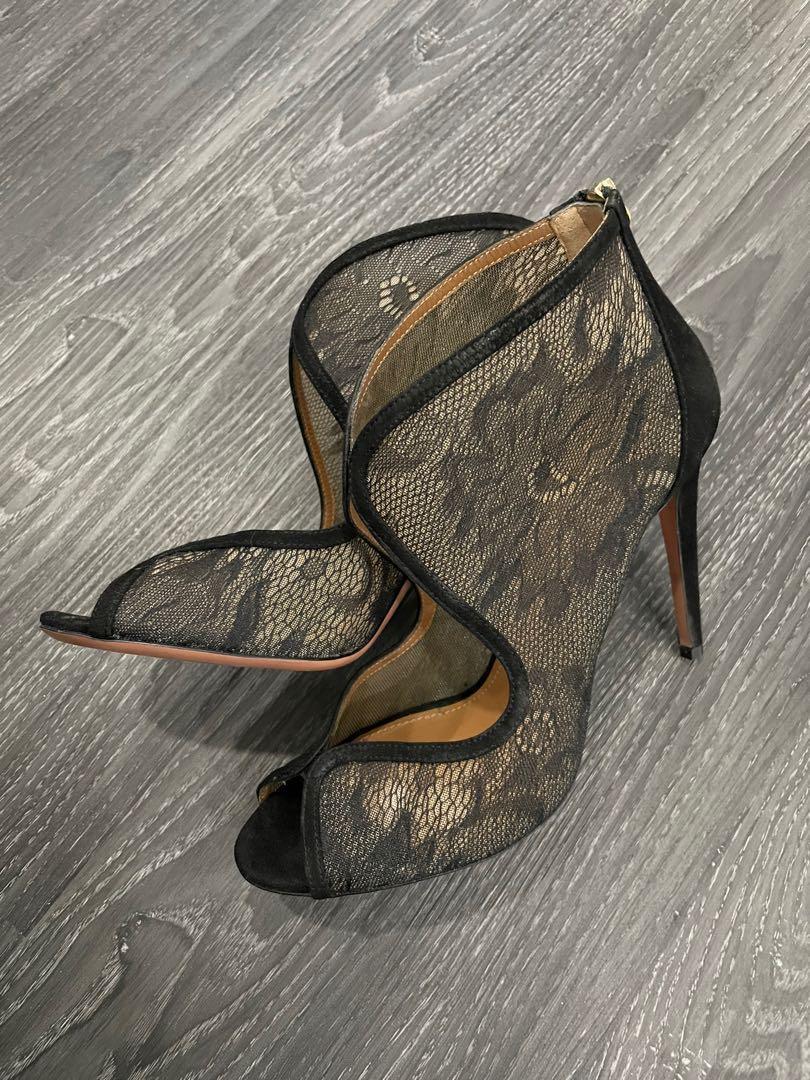 AQUAZZURA Black Lace Designer Heels