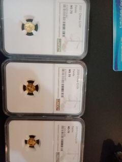 China Panda Gold 1 gm MS 70