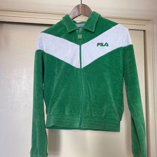 Green FILA terry cloth zip up sweater